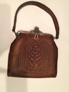 Antique Art Nouveau Arts & Crafts Era Tooled Brown Leather Purse Handbag