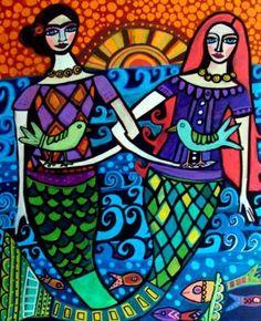 Frida Kahlo and Mermaid by Galler Fantasy Mermaids, Mermaids And Mermen, Frida Art, Mexican Folk Art, Mexican Tiles, Mermaid Art, Tile Art, Original Paintings, Art Paintings
