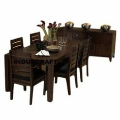 "Item :- 1 Dining Table & 6 Chair Dimension ( in Inches ) :-  17""Lx17W""x18""H  : Sitting Size Chair  +  58""LX36""Wx30""H :  6 Seater Table Size  17""Lx17W""x18""H     : Sitting Size Chair      +  48""LX36""Wx30""H     :  4 Seater Table Size 17""Lx17W""x18""H     : Sitting Size Chair      +  72""LX36""Wx30""H     :  8 Seater Table Size         Used material : Seasoned & Treated Seesham Wood Finish :- Shade # 107"