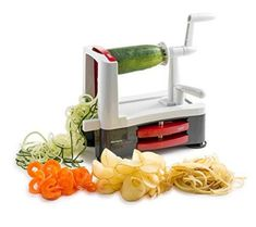 Brieftons Tri-Blade Spiralizer: Strongest-and-Heaviest Duty Vegetable Spiral Slicer, Best Veggie Pasta Spaghetti Maker for Low Carb/Paleo/Gluten-Free Meals, With 3 Exclusive Recipe eBooks - Green Best Spiralizer, Vegetable Spiralizer, Spiralizer Recipes, Veggie Spring Rolls, Spiral Vegetable Slicer, Donut Maker, Food Chopper, Veggie Pasta, Spiral Shape