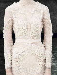 Scaled lace dress. The detail in this is mesmerizing and I love the long sleeves and high neck.