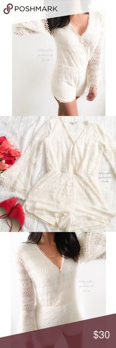 """Cream Boho Whimsical Lace Romper ✦   ✦{I am not a professional photographer, actual color of item may vary ➾slightly from pics}  ❥chest:19"""" ❥waist:14"""" ❥length:29.5"""" top:17"""" ❥sleeves:23' inseam:2.5"""" ➳Cotton+nylon+polyester/machine wash ➳fit:in my opinion true, might work for smooth too though ➳condition:gently used  ✦20% off bundles of 3/more items ✦No Trades  ✦NO HOLDS ✦No lowball offers/sales are final  ✦‼️BE A RESPONSIBLE BUYER PLS ASK QUESTIONS/USE MEASUREMENTS TO MAKE SURE THIS WILL WORK…"""