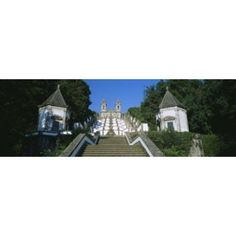 Low angle view of a cathedral Steps of the Five Senses Bom Jesus Do Monte Braga Portugal Canvas Art - Panoramic Images (18 x 6)