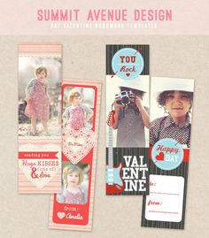 Valentine Bookmark template. $2.00, via Etsy.