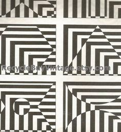 vintage 1970's optic illusion pattern art print book plate black & white pop art design retro home decor mod geometric picture wall 63 64 by RecycleBuyVintage on Etsy