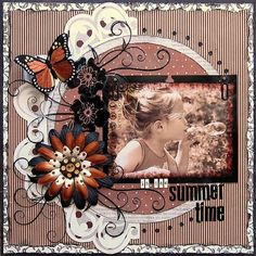 layout w/crimped paper background, big silk flower, black matting,inked or distressed edges to picture; LOVE the color scheme! Kids Scrapbook, Scrapbook Paper Crafts, Scrapbook Cards, Scrapbook Photos, Scrapbook Sketches, Scrapbook Page Layouts, Heritage Scrapbooking, Art Plastique, Paper Background