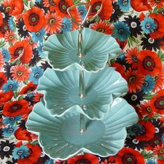 Turquoise Three Tiered Tray