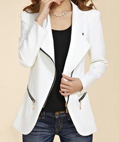 $18.05 Chic Style Lapel Neck Long Sleeve Solid Color Zipper Embellished Blazer For Women