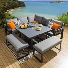 Grey Outdoor Furniture, Metal Outdoor Chairs, Pallet Garden Furniture, Corner Furniture, Balcony Furniture, Outdoor Dining Set, Dining Furniture, Outdoor Sofa, Patio Dining Sets