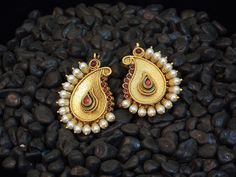 Traditional And Classy Golden And Colored Stone Earring - Online Shopping For Earrings By Elegant Elements-Jewellery-Elegant Elements