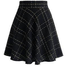 Chicwish Black Tweed Skater Skirt in Check (345 SEK) ❤ liked on Polyvore featuring skirts, black, black knee length skirt, checkerboard skirt, black skater skirt, black circle skirt e flared skirt
