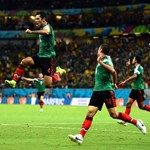 Rafael Marquez (L) of Mexico celebrates scoring