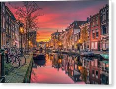 Beautiful European Canal At Sunset - Canvas Print - 10.000 x 6.625 / White / Matte