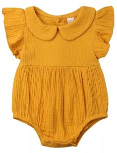 SALE 45% OFF + FREE SHIPPING! SHOP Our Mustard Collar Romper for Baby Girls