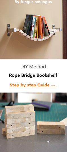 The rope bridge bookshelf lets books have a relaxed home when they're not being read. It can be rough being opened and left in all sorts of locations during the reading process and the books have earned a nice break. Playroom Organization, Playroom Decor, Diy Wall Decor, Wood Home Decor, Diy Home Decor, Ikea Ekby, Reading Process, Rope Bridge, Diy Craft Projects