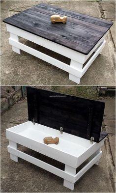We love to show the wood pallets reshaping ideas with the hidden storage, so here is a great idea of creating pallet table with the storage and no one can judge that there is a space where the items c (Diy Projects With Pallets)