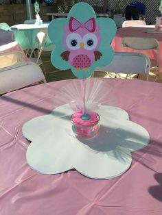 Centro de mesa Owl Themed Parties, Owl Parties, Owl Birthday Parties, Baby Birthday, Owl Shower, Shower Party, Baby Shower Parties, Baby Shower Themes, Baby Shower Centerpieces