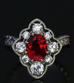 Unheated Burmese Ruby and Diamond Ring