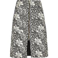 Black floral zip-up A-line midi skirt €18.00