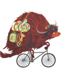A yak on a bike! Illustration by Emma Levey for Yuck! said the Yak, written by Alex English and published by Maverick Arts.