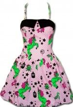 "I have this dress, it's so cute, it has eyeballs, stars, skull with crossbones, unicorns, & poison.Hell Bunny ""I Heart Zombies"" Dress in PINK - Trash Monkey"