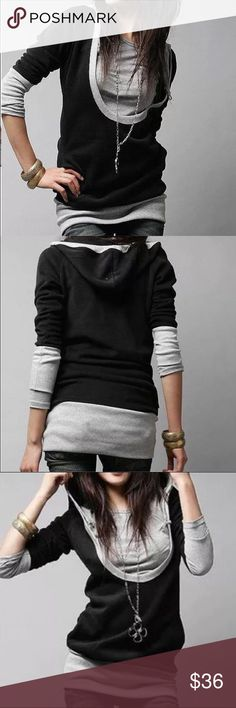 """Hoody two tone shirt Material: cotton. Measurement size S- bust 34, length 26"""", size M-bust 35"""", length 27"""". Highly stretchable Tops"""