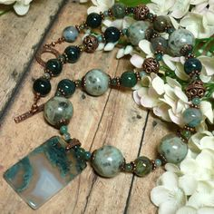 Moss Green Druzy Agate Kiwi Jasper Copper Gemstone 19 inch Necklace | KatsAllThat - Jewelry on ArtFire