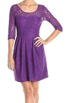 Betsey Johnson NEW Purple Womens 8 Sheath Scoop-Neck Floral Lace Dress $118 #832