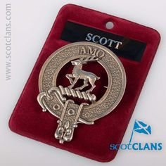Scott Clan Crest Pewter Cap Badge. Free worldwide shipping available