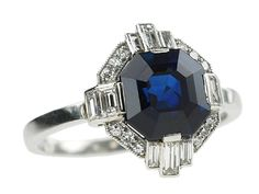 Art Deco Platinum Diamond Sapphire ring Sapphire is 3.34ct Certificate GRS2006-080268T Vivid Blue no thermal treatment Origin Pailin  http://www.luciecampbell.com/other-rings/All/1377--3/  £10950  richard@luciecampbell.com  Lucie Campbell Jewellers Bond Street London
