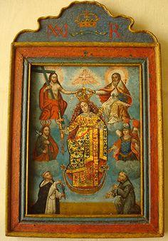 """""""Virgen del Rosario coronada por la Santísima Trinidad, con Santos y Arcángeles""""Colonial Boliviano, siglo XIX. Oleo/latón."""
