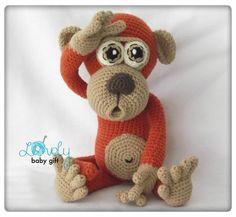 Crochet Pattern - amigurumi monkey, animal crochet pattern. Crochet pattern in English, Danish, Dutch, German, French and Spanish languages. http://www.ravelry.com/patterns/library/amigurumi-monkey-9