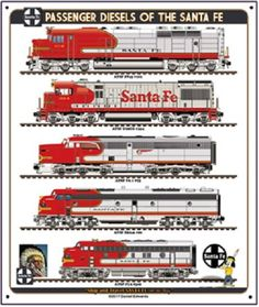 This Daniel Edwards Collection features Santa Fe diesel trains. This metal sign measures 10 x with rounded corners and an hole punched in each corner. Metal is gauge aluminum.