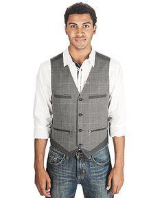 Marc Ecko Cut & Sew Vest, Pinstripe and Plaid Vest - Mens Men's Vests - Macy's
