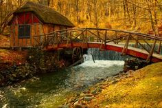 autumn stones calm nice leaves architecture water house river pretty creek stream colors mill nature watermill scenic houses lovely view cabin fall old grass windmill beautiful waterfall trees riverbank peaceful splendor beauty reflection woods bridge pu