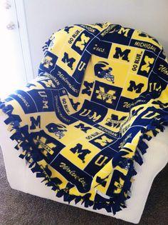 BIG TEN - NCAA University of Michigan Blanket - Custommade Fleece Blanket - Choice of NoSew or MachineSewn - by Rolani's Wonderland #rolaniswonderland #handmade #etsy