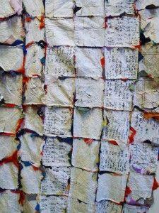 Achterkant Japanse quilt van versleten textiel