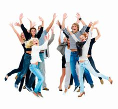 happy people   Group of happy friends jumping in joy with hands raised against white ...