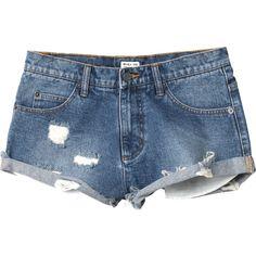 RVCA Women's  Hatchet Cut Off Denim Shorts ($56) ❤ liked on Polyvore featuring shorts, pants, bottoms, zipper pocket shorts, distressed jean shorts, short jean shorts, ripped jean shorts and distressed shorts