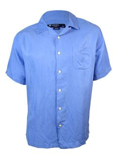 NEW Cremieux Sunwashed Silk/Linen Short Sleeve Shirt - L Periwinkle #Cremieux…