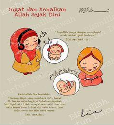 Kenalkan Allah sejak dini :) Allah Islam, Islam Muslim, Islam Quran, Muslim Quotes, Islamic Quotes, People Quotes, Me Quotes, Qoutes, Pregnant Cartoon