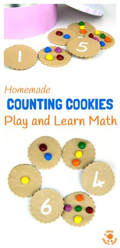 HOMEMADE COUNTING COOKIES MATH GAME - great for early number skills and imaginative play. Easy preschool learning at home. Number recognition, counting and one to one correspondence. #kidscraftroom #math #ece #homeeducation #preschool #counting #numberrecognition #numbers #maths Math For Kids, Fun Math, Math Games, Diy For Kids, Number Games, Preschool Learning Activities, Toddler Activities, Preschool Activities, Counting Activities
