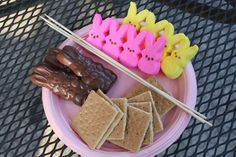 Peep and chocolate bunny  s'mores..