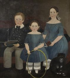 Attributed to Sturtevant J. Hamblin (American, 1817-1884)  PORTRAIT OF THREE BROWN FAMILY CHILDREN WITH BOAT, HOOP AND CAT