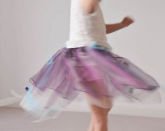 Purple and Turquoise Organza & Tulle Fairy Skirt by AtelierSpatz