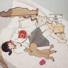(@salgoolulu) Character Illustration, Illustration Art, Fashion Illustration Dresses, Korean Art, Aesthetic Anime, Cute Love, Cute Couples, Illustrators, Instagram