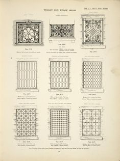 Wrought iron window grilles. Plates 477-N, 478-N, 479-N, 480-N, 481-N, 482-N, 483-N, 484-N and 485-N.