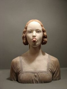 Gerard Mas - Dama del Llengot, alabaster.....seriously, he did this in alabaster? Amazing and funny!
