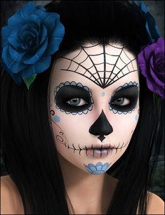 Check Out 23 Best Sugar Skull Halloween Makeup Ideas. Sugar skull makeup is everywhere around Dia de los Muertos, and the skill and work involved in creating many of these looks is mind-blowing. Sugar Skull Halloween, Yeux Halloween, Halloween Eye Makeup, Halloween Eyes, Fall Halloween, Halloween Crafts, Halloween Party, Vintage Halloween, Facepaint Halloween