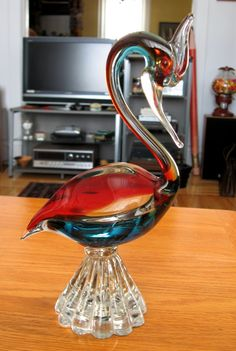 1960s Murano Italian Glass Multicolored Red and Blue di ToysnSuch, $85.00